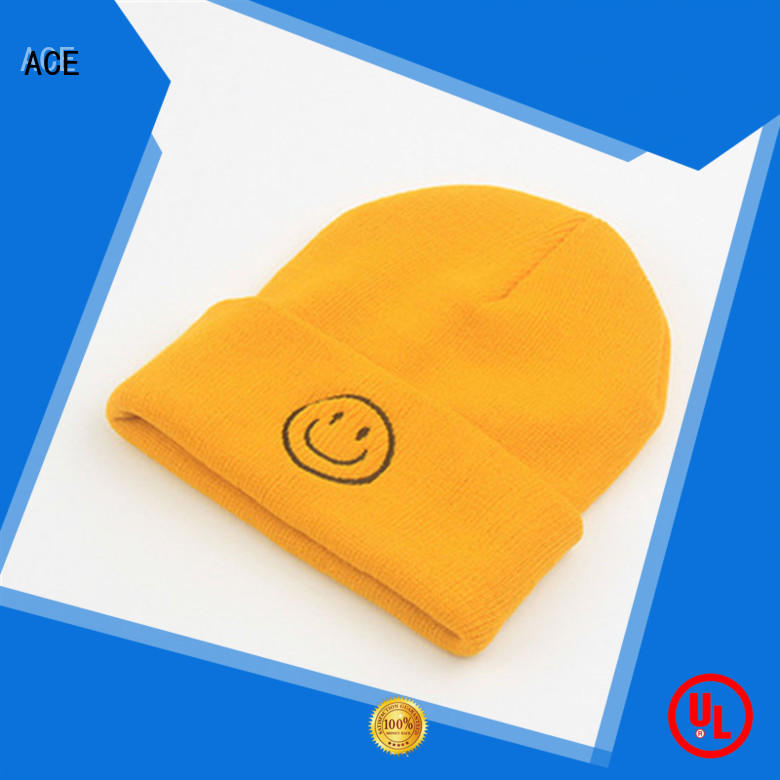 ACE black knit beanie ODM for fashion
