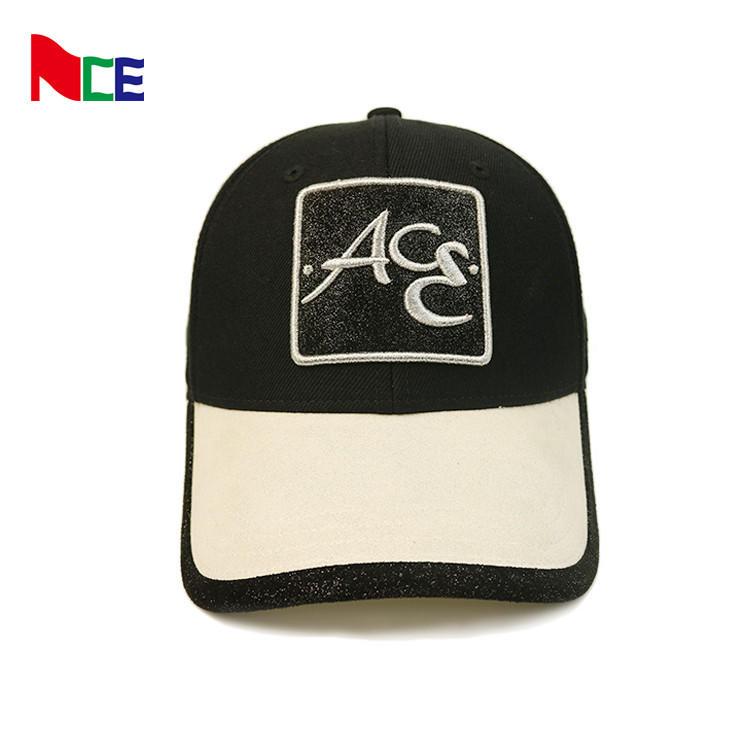 ACE unsex baseball cap 6 panel 3D embroidery logo custom summer black baseball cap for adult