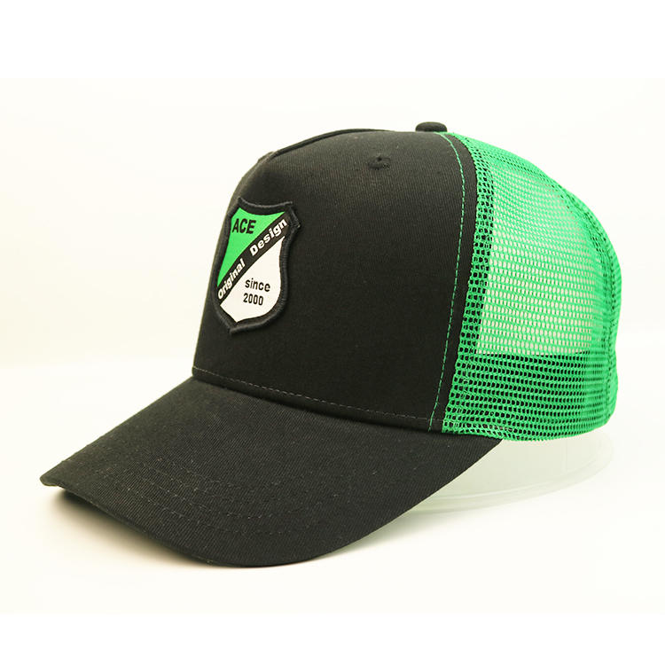 ACE brand curved brim  5 panel mesh cap with custom logo embroidered patches custom baseball cap with patch
