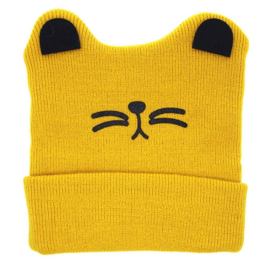 ACE High quality Lovely Baby Hats Boys Girls Cat Ear Woolen Yarn Knit Keep Warm Hats Soft material Caps Wholesale Baby Hats