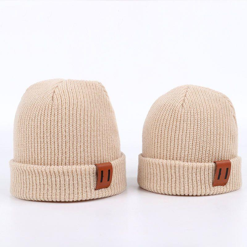 ACE high quality leather patch beanie hats custom design small order warm hat cap yellow beanie hats