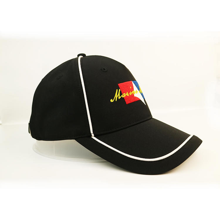 BSCI OEM hot sale metal buckle embroidery logo curve brim custom twill cotton black 5 panel baseball caps manufacturers