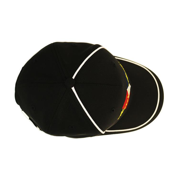 BSCI OEM hot sale metal buckle embroidery logo curve brim custom twill cotton black 5 panel baseball caps manufacturers