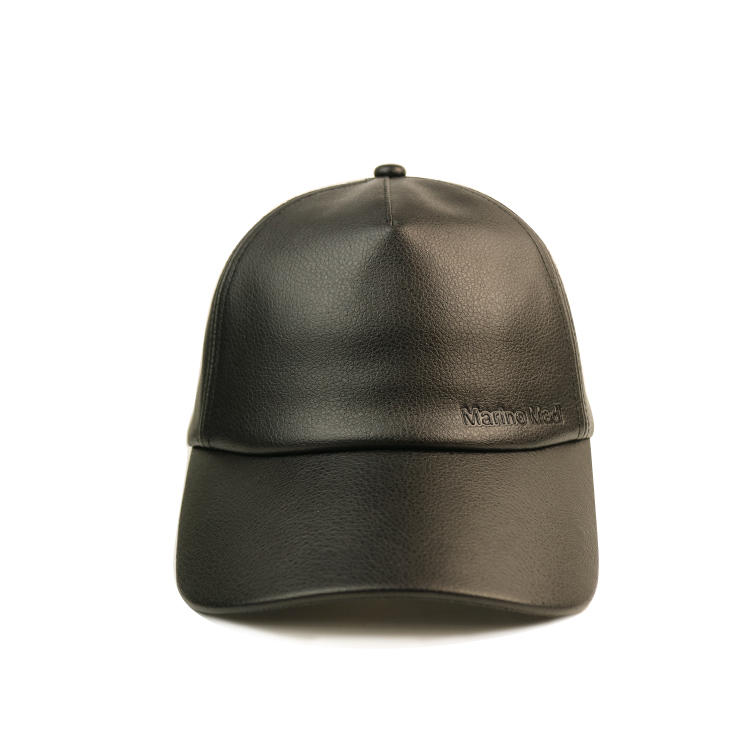 BSCI faux leather baseball cap good quality abrasion black leather cap pu leather dad hat