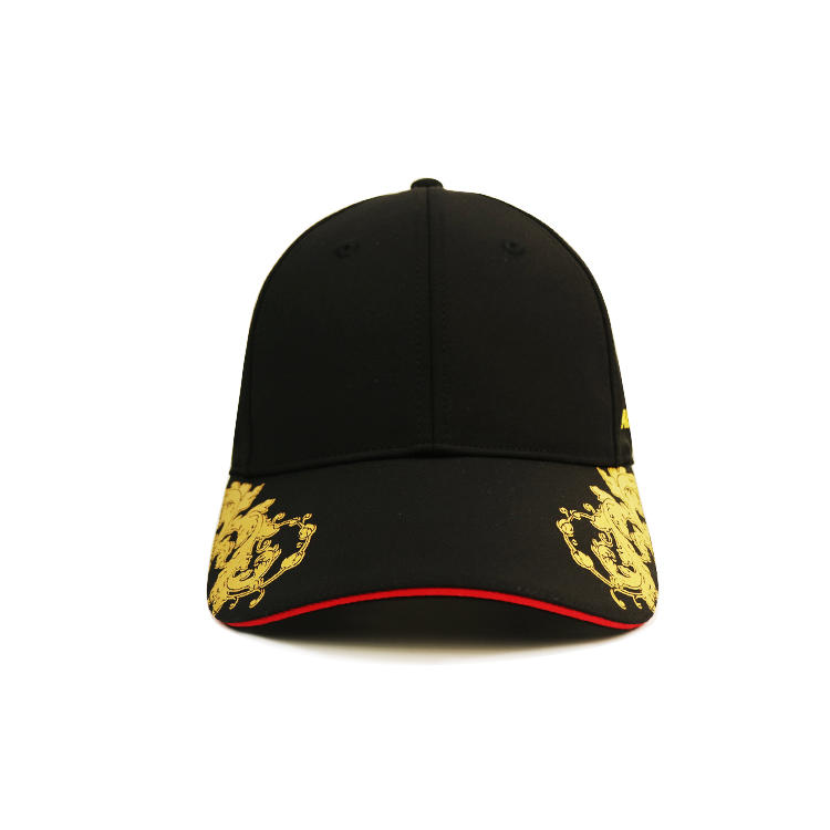 ACE Gold print on both sides black sport cap 6 panel baseball black cap custom logo metal adjustable  buckle