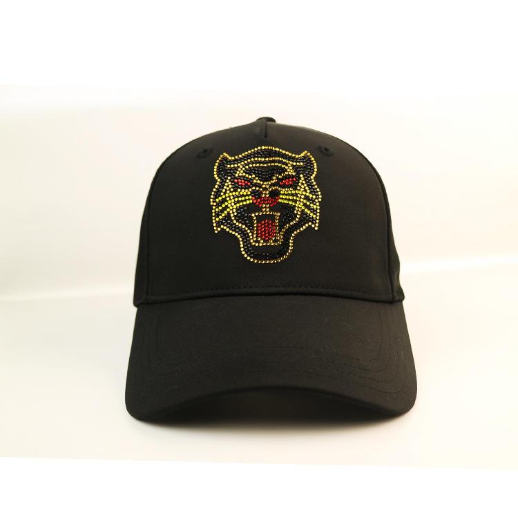 ACE BSCI animal pattern rhinestone black baseball cap satin cap black cap custom logo Metal buckle
