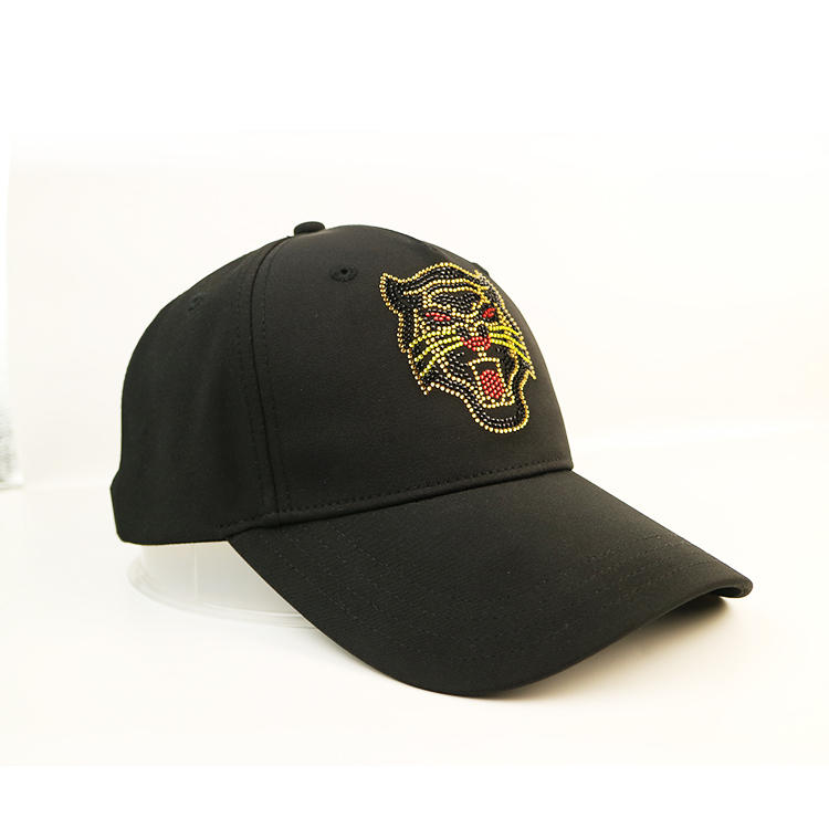 ACE BSCI animal pattern rhinestone black baseball cap satin cap black cap custom logo Metal buckle