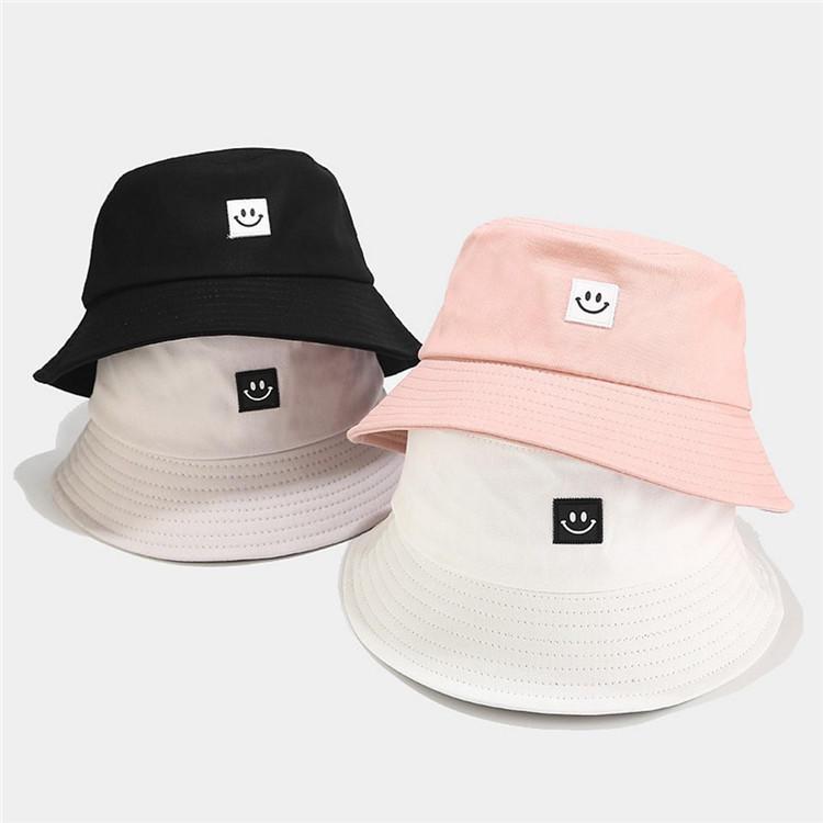 Summer Hat Women Mens Panama Bucket Hat Smile Face Design Flat Sun Visor Fishing Fisherman Hat Chapeau Femmes Hip Hop