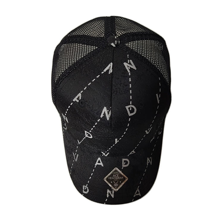High Quality Customize Adjustable 6panel Black Printing Design Mesh Trucker Hats Caps
