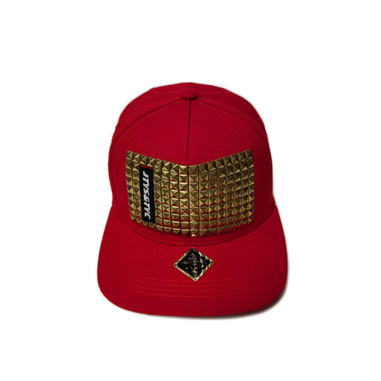Custom Made Red 6Panel Summer Metal Rivert  Logo Flat Bill Hip Hop Snapback Hats Caps