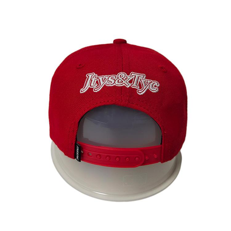 Custom Made Red 6Panel Summer Metal Rivert  Logo Flat Bill Hip Hop Snapback Hats Caps