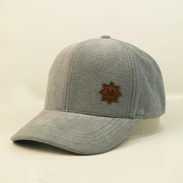Bsci 100% Polyester Baseball Cap Plush Baseball Cap With Leather Patch Custom Logo