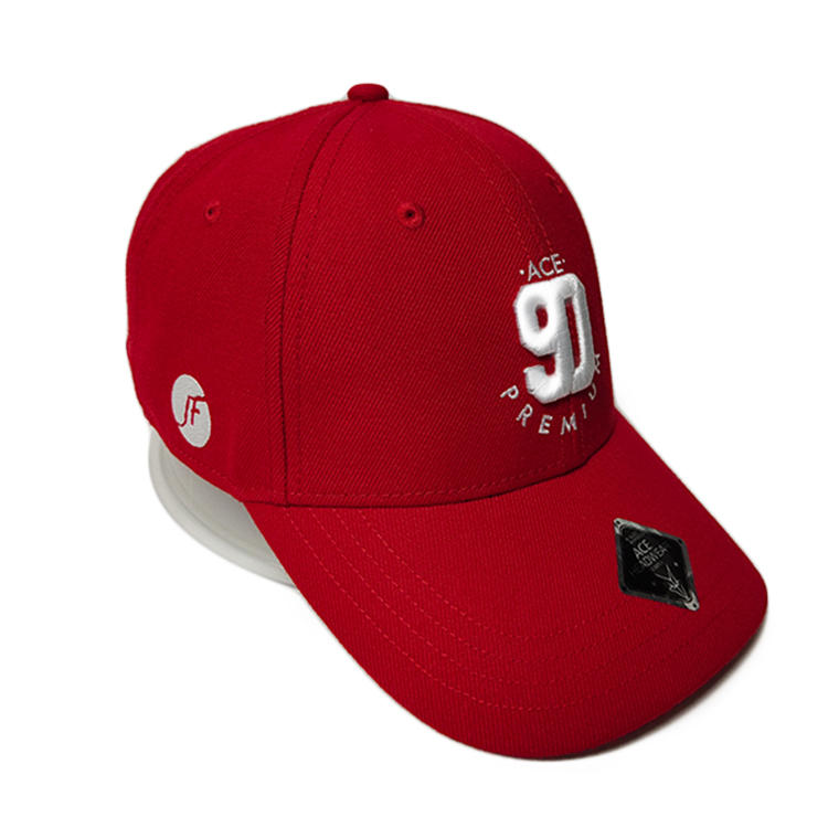 Quick Dry Sports Fabric Customized Red 90 Embroidery Logo Metal Buckle Sport Baseball Caps Hats