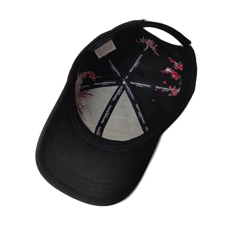 Chinese Style Design Black 6 Panel Crane Logo Flat Embroidery Baseball Caps Hats