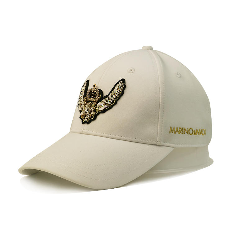 Hot Sales Female Male Solid Color Patch Embroidery Custom Logo Flat Embroidery on Side Panels with Metal Thread Metal Back Closure Hat Cap