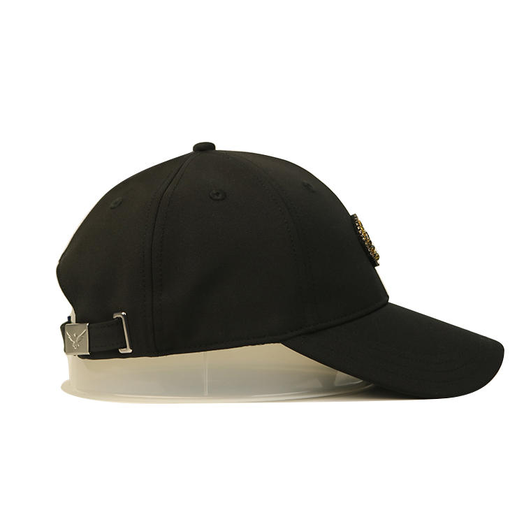 Customize Made Black Cotton Protective 6panel Jewelry Crown Logo Patch Baseball Hats Caps With Embroidery