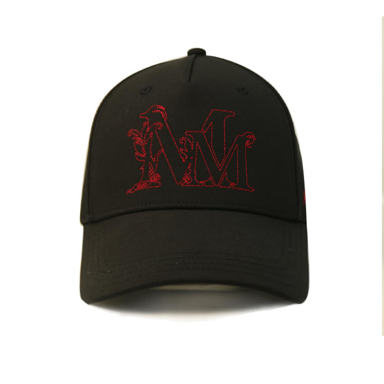 Adjustable Customized design black structured metallic buckle flat embroidery baseball caps hats
