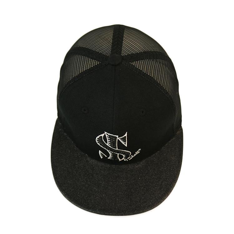 High Quality Music Festival Sports Clubs Embroidery Rhinestone Logos Five Panel Flat Brim Woolen Snapback Hat Mesh Trucker Cap
