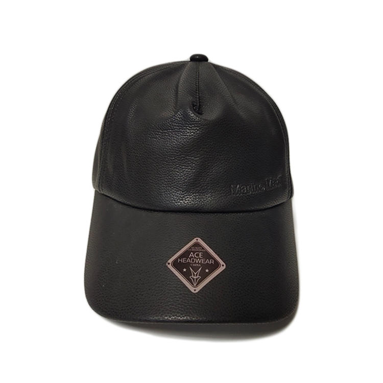 High quality fashion outdoor sports cap 6 panel custom blank black leather pu baseball cap