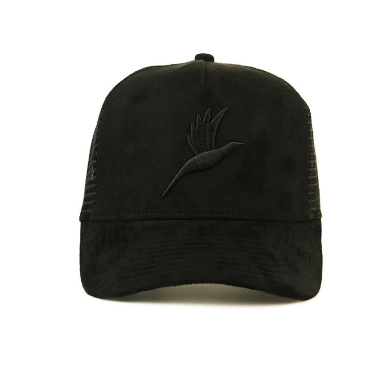 custom 3d embroidery logo suede cap wholesale suede mesh cap plain suede trucker cap