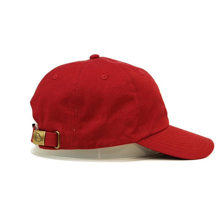 Ace High Quality Solid Red Color Custom Dragon Logo Flat Embroidery Baseball Curve Brim Cap Hat