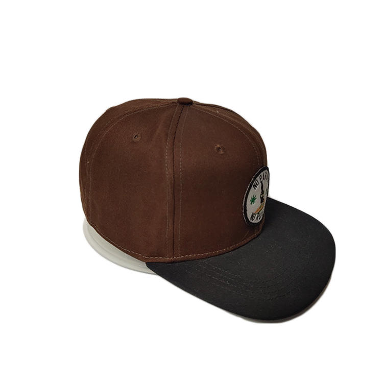Ace High Quality Outdoor Casual Solid Dark Brown Color Custom Embroidery Patch Logo Snapback Black Flat Brim Cap Hat