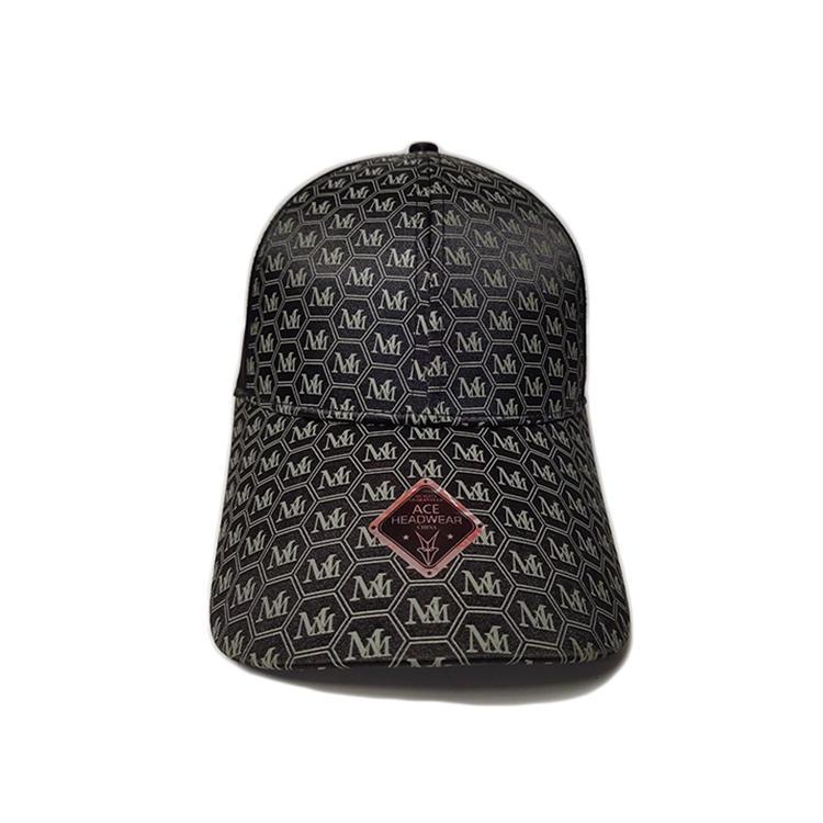Ace High Quality Leather Digital Print Pattern Custom Logo Soft Polyester Fabric Cool Outdoor Baseball Cap Curve Brim Hat