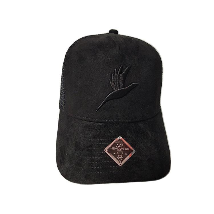Ace High Quality Custom 3d Embroidery Logo Soft Cotton Fabric Outdoor Baseball Trucker Cap Flat Brim Mesh Hat