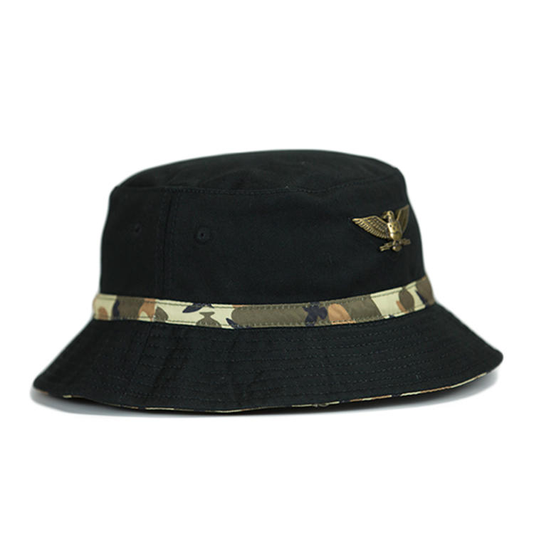 Ace Unisex Adjustable Cotton Fabric Custom Eagle Logo Camouflage Design Bucket Cap Fishing Cap Hat