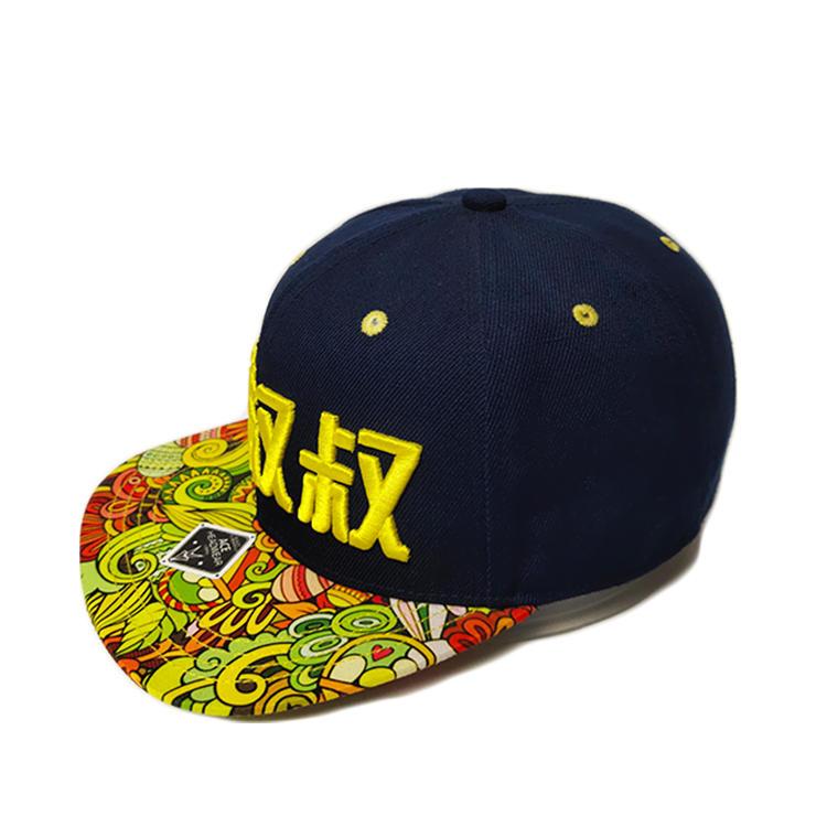 Hot sale 100% Cotton flat bill 3D embroidery custom logo snapback hat with logo