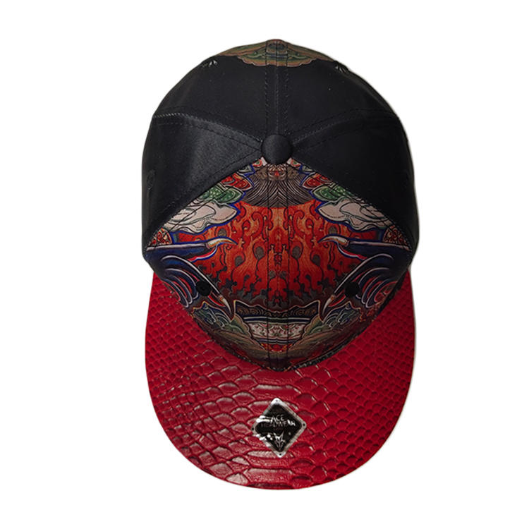 ACE Headwear Customized Design Black Sublimation Printed Logo 6 Panel Snapback Caps Hats