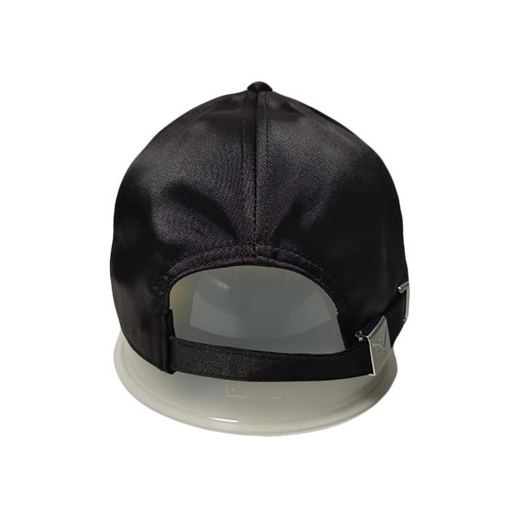 Protective Custom Made Black 6panel Metail Buckle Print Logo Baseball Hats Caps For Men