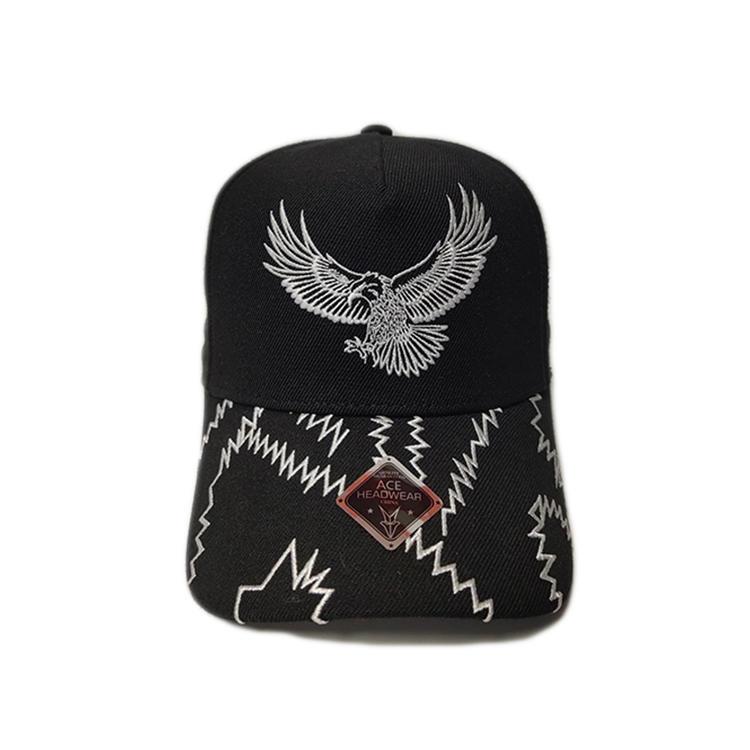 Chinese Style Design Black 6Panel eagle Logo Flat Embroidery Baseball Caps Hats