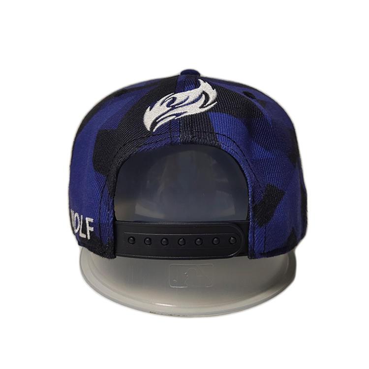 Wholesale Custom Blue special material grid 6panel wolf printing Logo Flat Brim Snapback Hats Caps