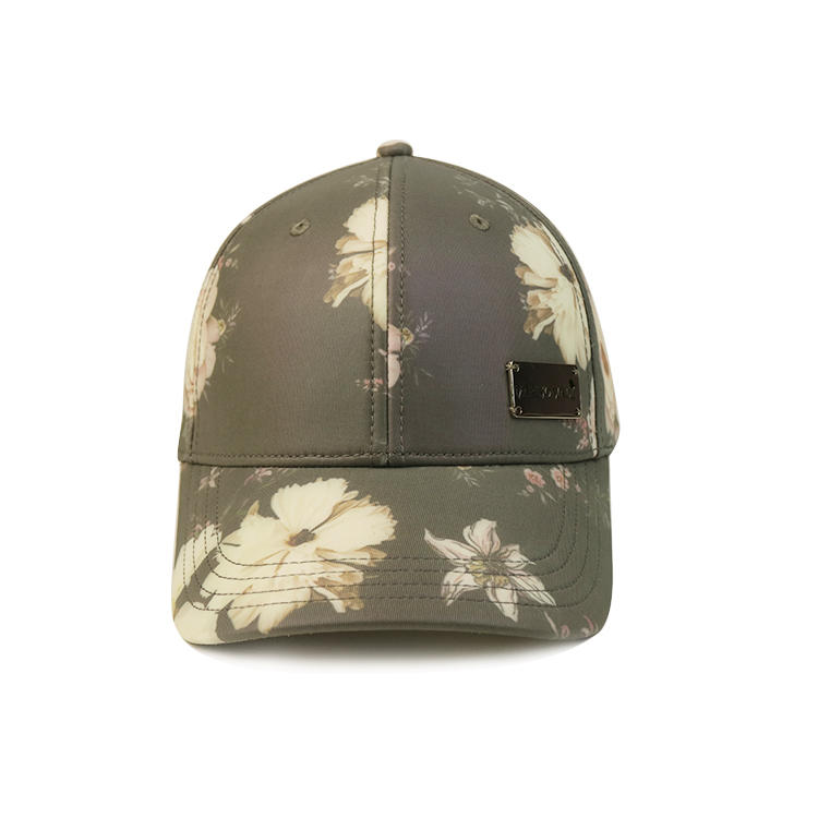 Flower Floral Pattern Sublimination Print Polyester Fabric Metal Deboss Patch Baseball Cap