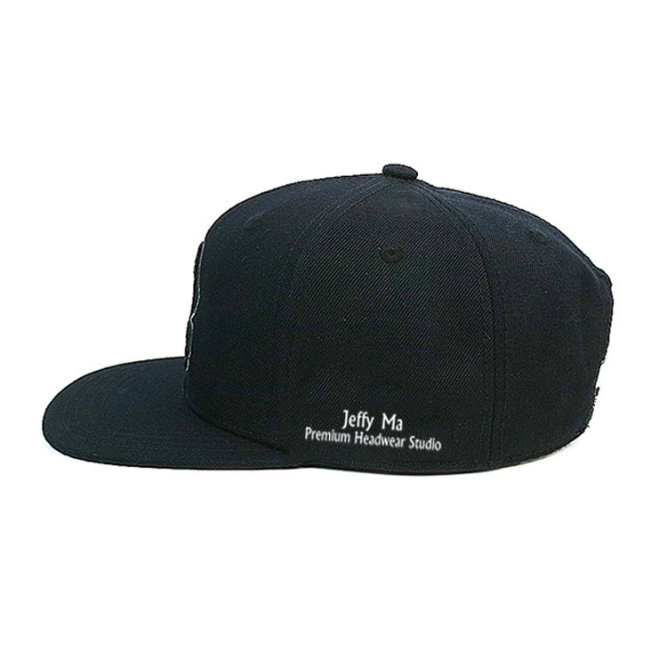 Wool Acrylic Flat Peak Cap Custom Print Front Logo Snapback Hats Caps With Side Embroidery Logo