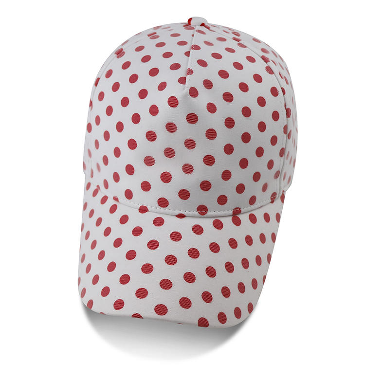 Wholesale custom fashion Thin And Light red And White Polka Dot Women Cheap printed logo Baseball Hats cap