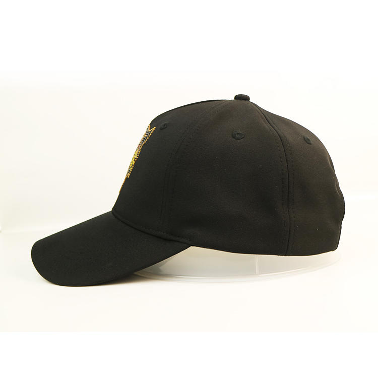 Low Moq Customized Multicolor High Quality Rhinestone Caps Polyester Baseball Cap Black Hat