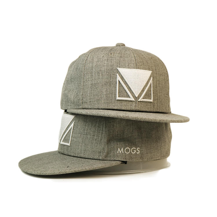 Blank Plain Grey 6panel Custom Made3d Embroidery Logo Snapback Hats Caps