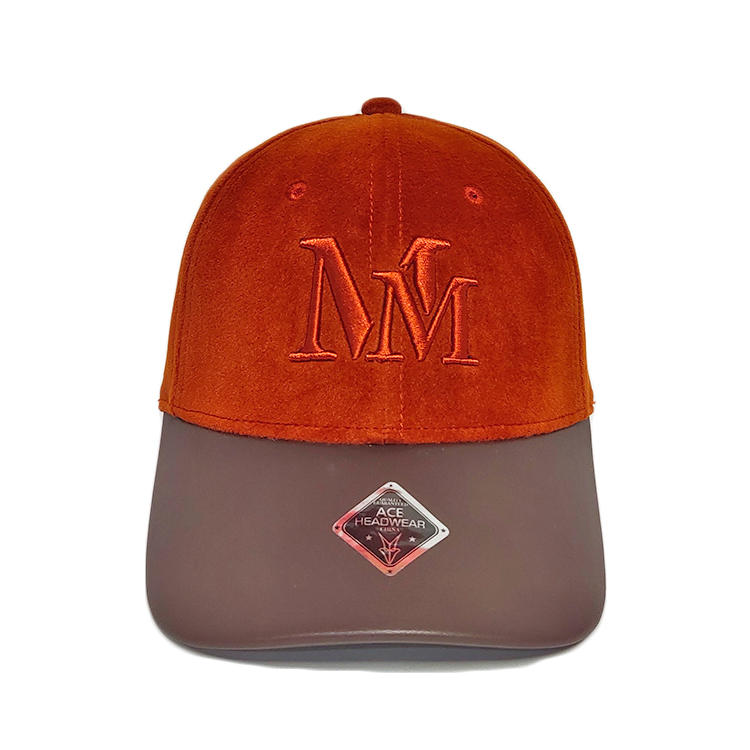 Orange Suede Leather Curve Brim 3d Embroidery Mm Baseball Caps Hats With Logo