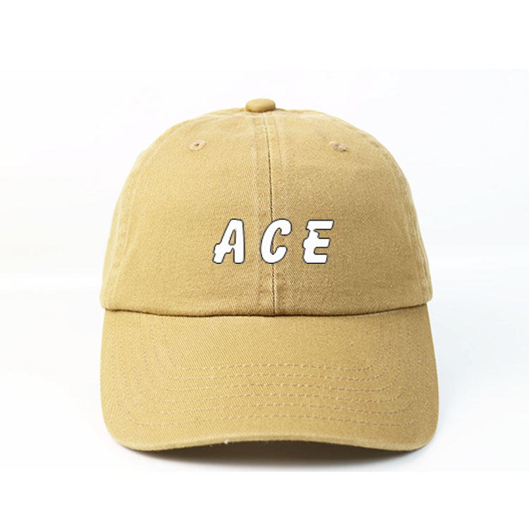 High quality ACE Wash Material Customized Yellow Unstructured 6panel Printing ACE logo baseball Hats Caps