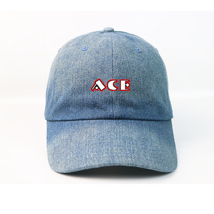 Manufacturer Custom 6panel Metal Buckle Denim Wash Blue Printing Logo Sports Baseball Caps Hats For Men's And Women