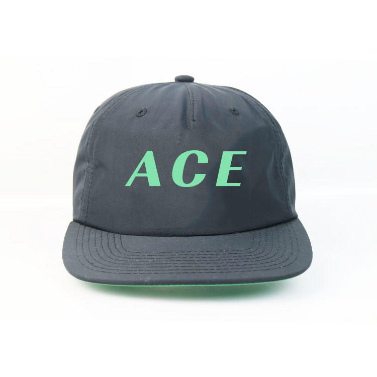 ACE New design Black Flat bill 5panel  Customized printing logo hip hop snapback Hats Caps