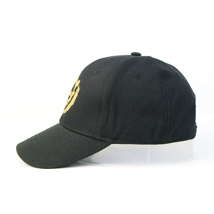Customize Made Black Cotton Protective 6panel Jewelry Logo Patch Baseball Hats Caps With Embroidery