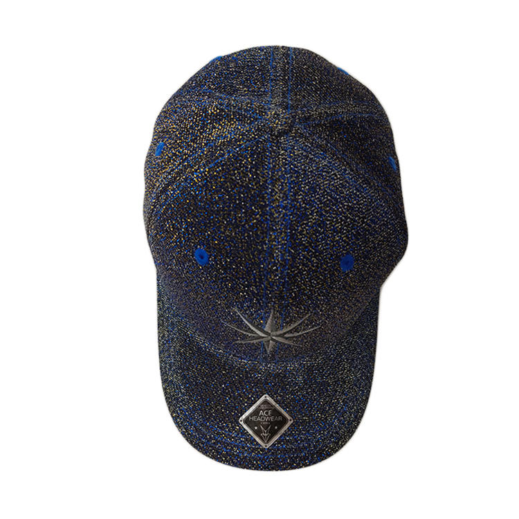 Amazon Best Seller Baseball Cap High Quality Metal Patch Hat Unisex Black Outdoor Cap With Metal Accessory