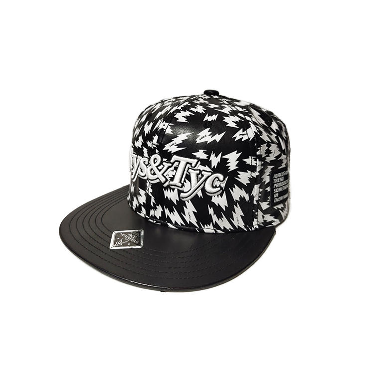 High Quality Design Your Own Black genuine Leather Belt Snapback Cap hat with 3D embroidery