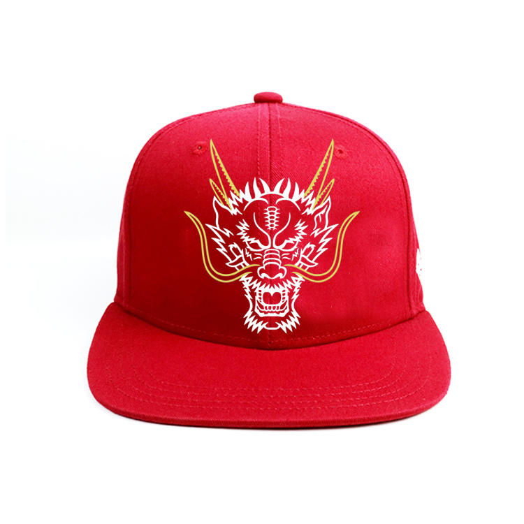 2020 Small MOQ Red 6panel Structured custom printing Chinese Dragon logo snapback  hats caps
