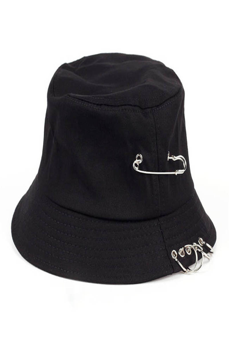 Factory Price Unisex Solid Color Iron Pin Rings Bucket Cotton Fishermen Hat Cap