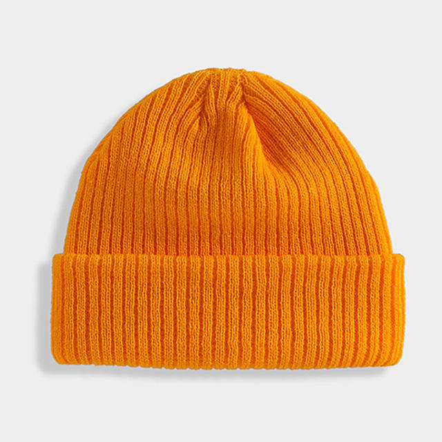 Unisex Soft High Quality Solid Color Winter Adjustable Warm Beanies Knitted Cap Hat