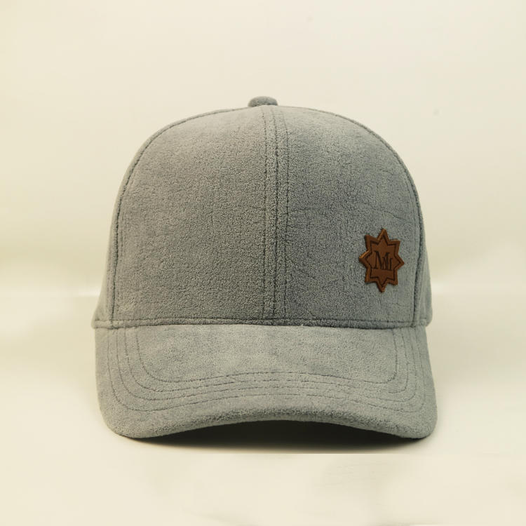 Bsci Plush 100% Polyester Custom Logo Hat Baseball Cap With Leather Patch